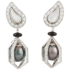 Ella Gafter Black Tahitian Pearl Onyx Diamond White Gold Drop Clip-on Earrings