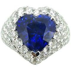 6.42 Carat Heart Shape Blue Sapphire Royal Blue Sri Lanka Diamond Cocktail Ring