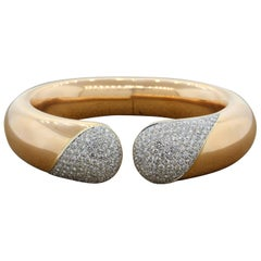 Large Diamond Gold Cuff Bracelet