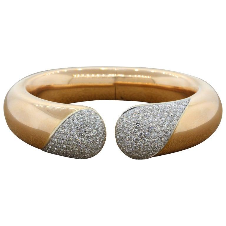 Large Diamond Gold Cuff Bracelet