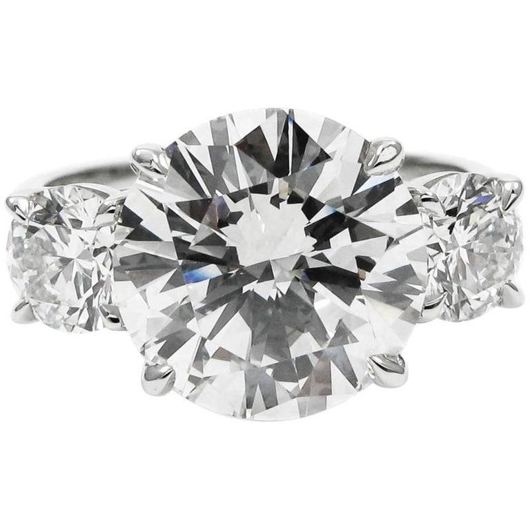 5.17 Carat Total Round Brilliant Cut Diamond Three-Stone Platinum Ring GIA For Sale