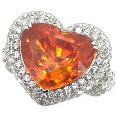 14.35 Carat Heart Shape Mandarin Garnet Diamond Cocktail Ring