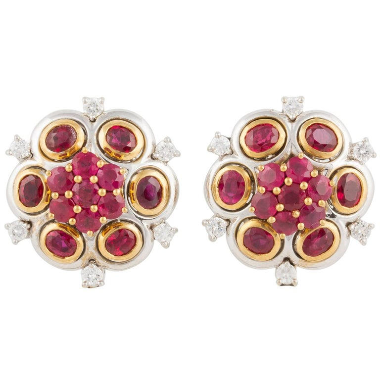 Ella Gafter Ruby and Diamond White Yellow Gold Clip-On Flower Earrings