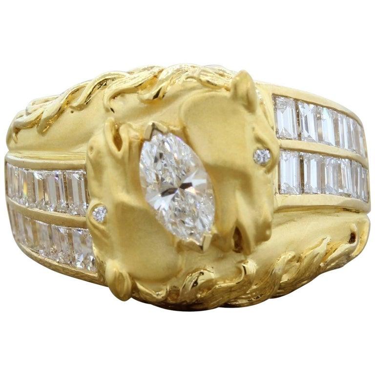 Carrera y Carrera Diamond Gold Stallion Ring