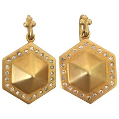 Lauren Harper Collection .44cts Diamonds, Gold Pyramid Earrings