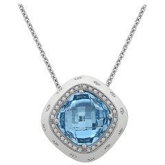 Emilio Jewelry 28.31 Carat Blue Topaz Diamond Necklace