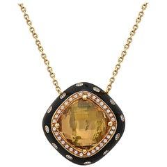 Emilio Jewelry 16.57 Carat Unique Citrine Diamond Enamel Necklace