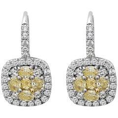 5.00 Carat Yellow and White Diamond Earrings