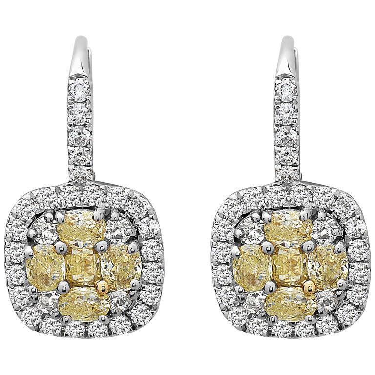 Emilio Jewelry 5.00 Carat Yellow and White Diamond Earrings