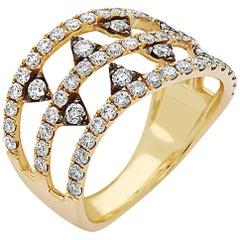 Trendy Yellow Gold Diamond Band