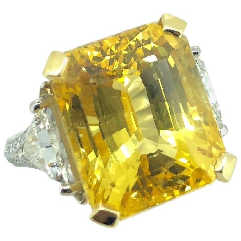 Natural 20.01 Carat Vivid Emerald Cut Yellow Sapphire Diamond Ring