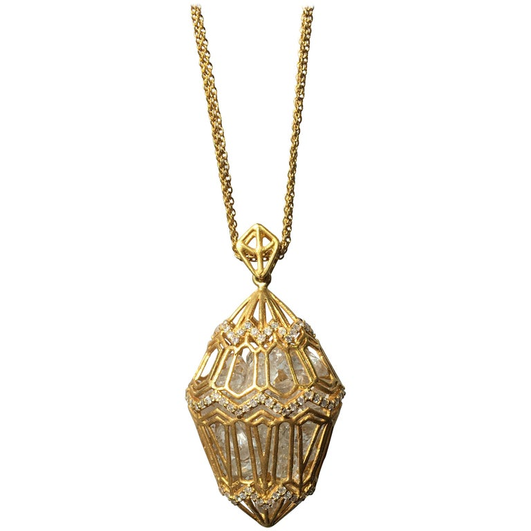 Lauren Harper .94cts Diamonds, 34cts Loose White Topaz, Gold Pendant on Chains For Sale