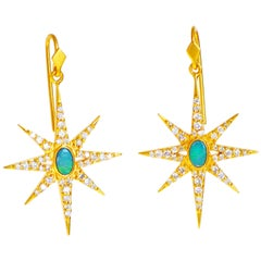 Lauren Harper Boulder Opal Diamond Yellow Gold Star Earrings
