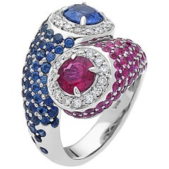 Emilio Jewelry Gorgeous American Pride Sapphire Ruby Diamond Ring
