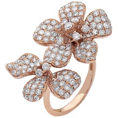 Emilio Jewelry Flower Double Flower Diamond Ring