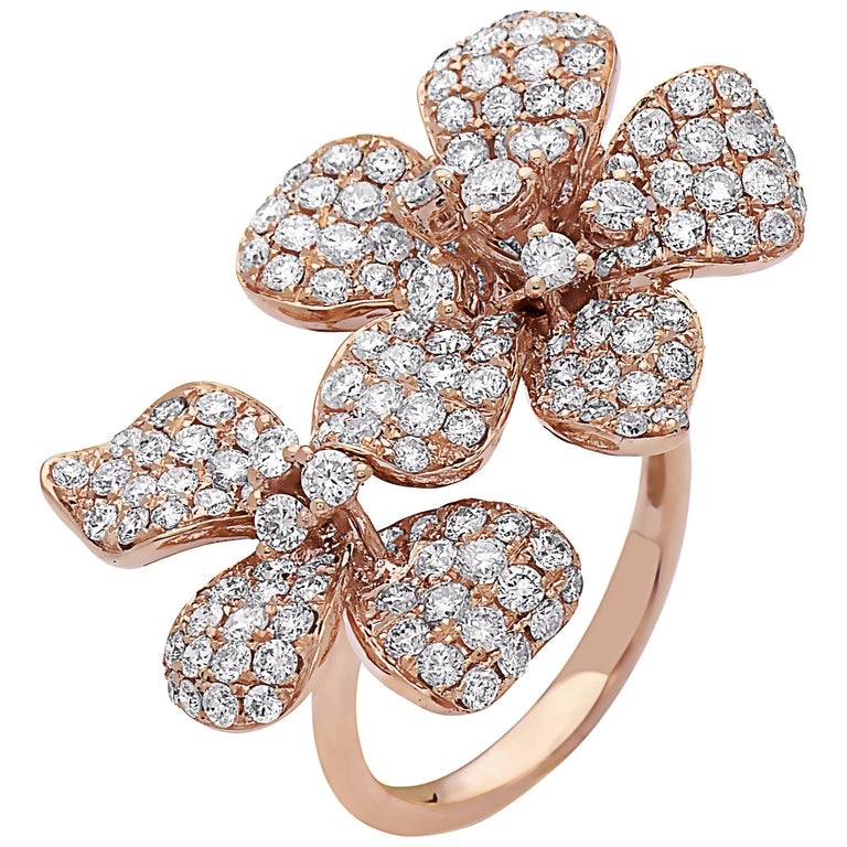 Emilio Jewelry Flower Double Flower Diamond Ring
