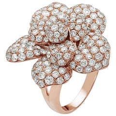 Emilio Jewelry Pave Flower Diamond Ring