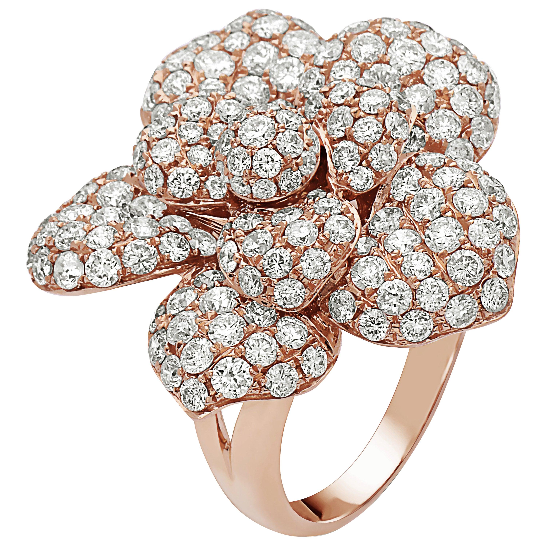 Emilio Jewelry Pave Flower Diamond Ring