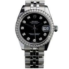 Rolex Ladies Stainless Steel Diamond Bezel Datejust Wristwatch