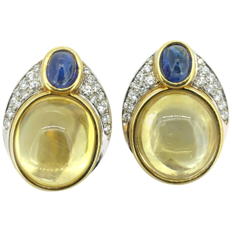 14K Yellow Gold Natural Yellow Sapphire Cabochon Diamond Ear Clips