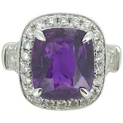Natural 5.94 Carat Vivid Purple Sapphire Diamond Ring