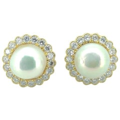 Classic Natural Saltwater Pearl Diamond Cluster Earring Studs