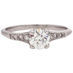 Vintage Diamond Engagement Ring Platinum 0.65 Carat OEC H-VS1, circa 1930s