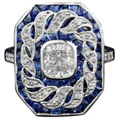Certified 1.03 Carat Diamond Blue Sapphire Cocktail Ring