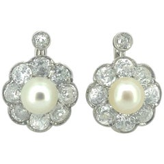 Classic Natural Pearl Old Cut Diamond Cluster Earrings