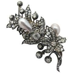Victorian Natural Pearl And Diamond Spray Brooch, Circa 1860