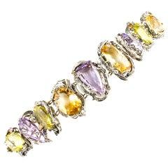 Amethyst Topaz Diamond Rose Gold and Silver Bracelet