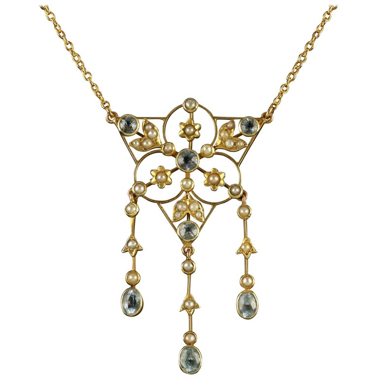 Antique Victorian 15 Carat Gold Aquamarine Pearl Necklace, circa 1900