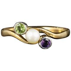 Antique Victorian Suffragette Twist Ring 18 Carat Gold