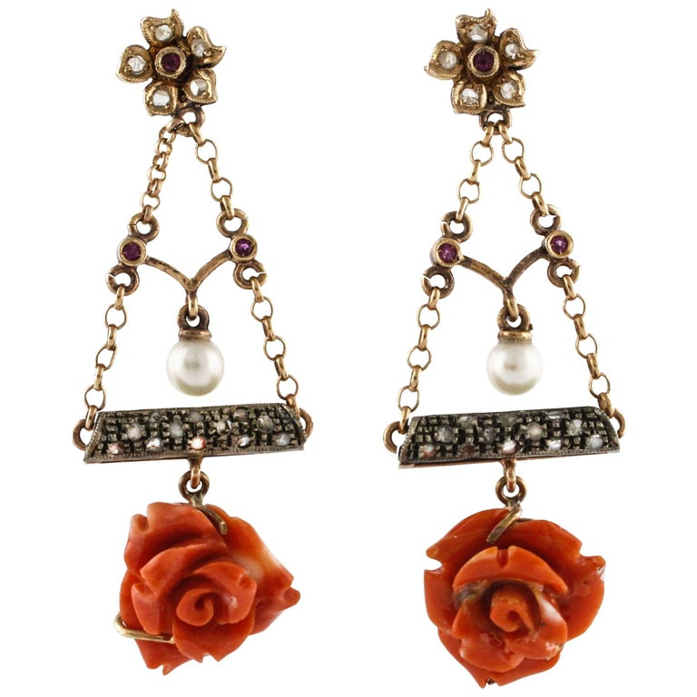 Coral Diamond Pearl Ruby Rose Gold and Silver Flower Earrings
