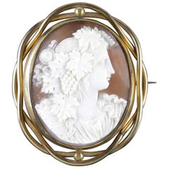 Antique Victorian Bacchante Cameo Mourning Swivel Brooch, circa 1860