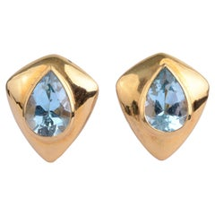 H. Stern Blue Topaz Gold Earrings