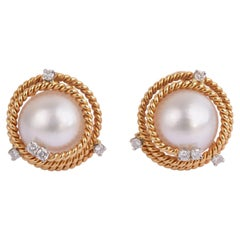 Schlumberger for Tiffany & Co. Mabe Pearl Diamond Gold Earrings