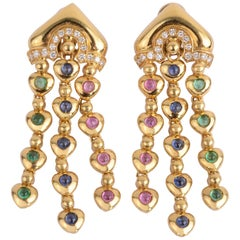 Salavetti Dangle Earrings with Multicolor Gems