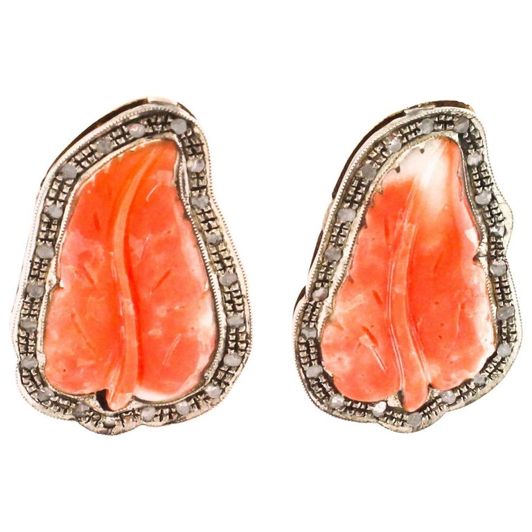 Clip Earrings in Rose Gold and Silver, Coral and Diamonds