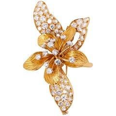 Vintage 1950s Diamond Orchid Brooch