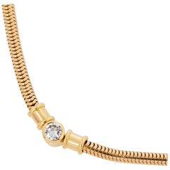 Theo Fennell 18 Karat Yellow Gold Solitaire Diamond Collar Necklace