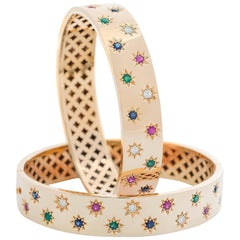 Clarissa Bronfman 14 Karat Gold Diamond Emerald Ruby Sapphire 'Dinorah' Bracelet