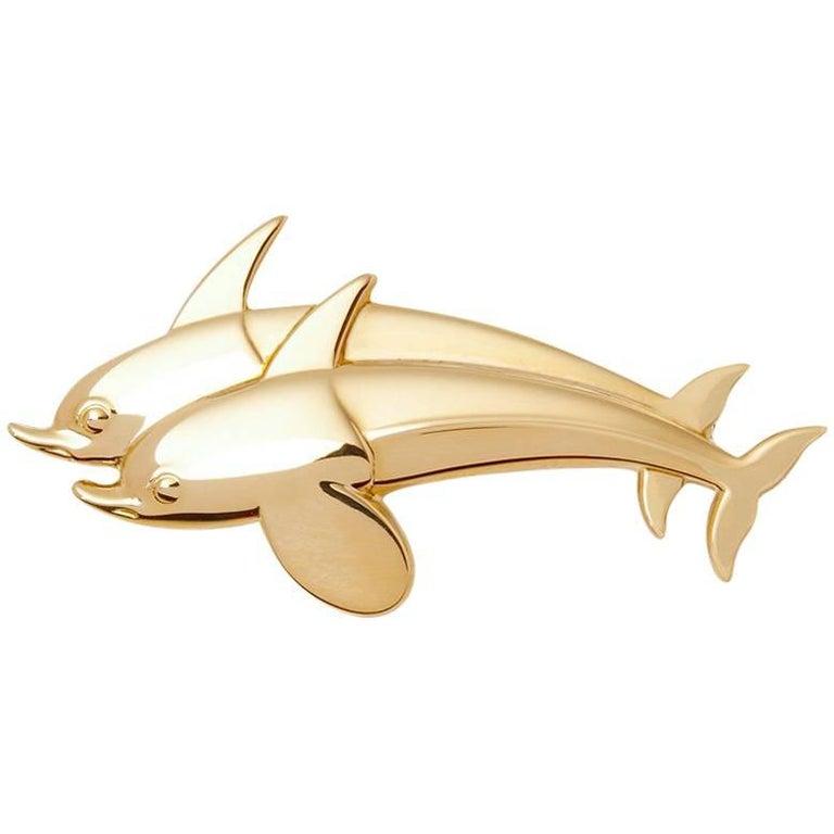 Georg Jensen 18 Karat Yellow Gold Vintage Dolphin Brooch For Sale
