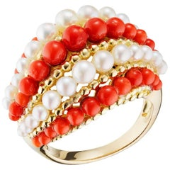 1960s Van Cleef & Arpels   Coral Cultured Pearl Gold Ring