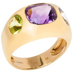 Chanel 18 Karat Yellow Gold Amethyst & Peridot Baroque Ring