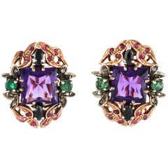 Amethyst Sapphires Ruby Emeralds Diamonds  Rose Gold and silver Earring