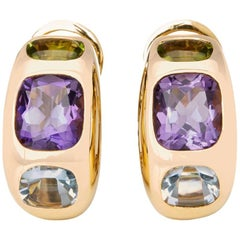 Chanel 18 Karat Yellow Gold Amethyst Peridot Clip-On Baroque Earrings