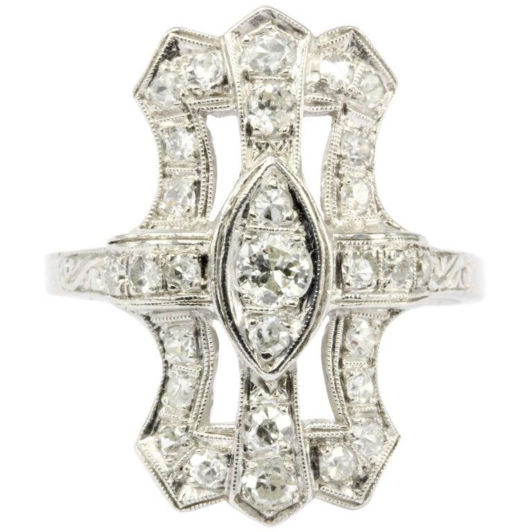 Art Deco Platinum Diamond Shield Ring For Sale At 1stdibs