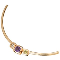 Chanel 18 Karat Yellow Gold Amethyst & Peridot Baroque Collar Necklace