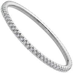 Emilio Jewelry 9 Carat Diamond Stretchable Bangle in 18 Karat White Gold